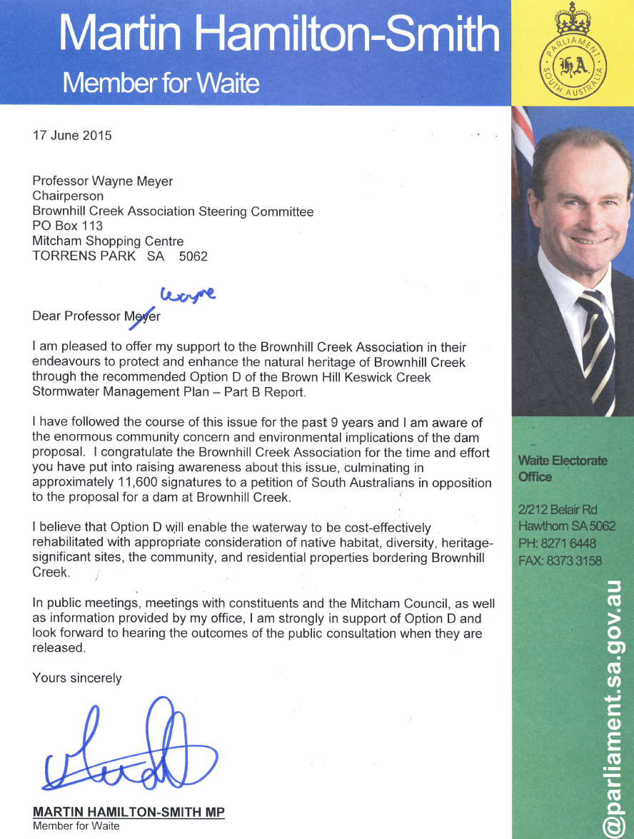 Martin Hamilton-Smith MP-LETTER OF SUPPORT