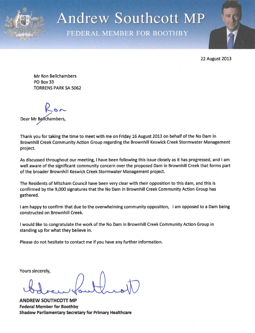 Andrew Southcott MP-Letter of Support